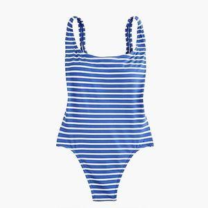 J Crew Plunging Scoopback Stripe Swimsuit 14
